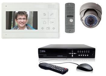 Комплект — видеодомофон, вызывная панель, купольная AHD камера 1 Мп, видеорегистратор 4 канала