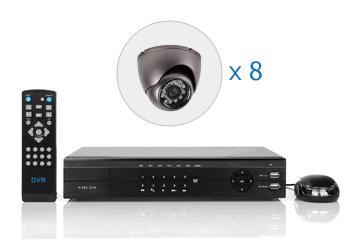 Комплект — 8 внутренних цветных AHD камер 1 Мп, видеорегистратор 8 каналов