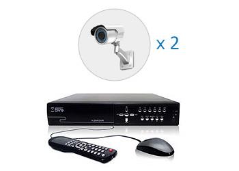 Комплект — 2 уличные цветные AHD камеры 1 Мп, видеорегистратор 4 канала