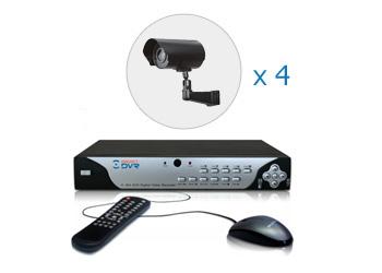 Комплект — 4 уличные цветные AHD камеры 1 Мп, видеорегистратор 4 канала