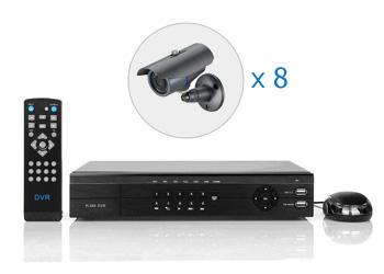 Комплект — 8 уличных цветных AHD камер 1 Мп, видеорегистратор 8 каналов